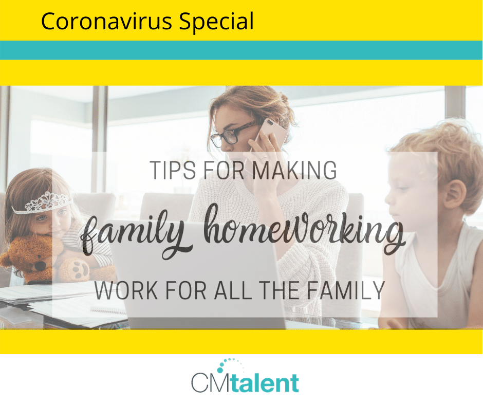 Family home working and home schooling